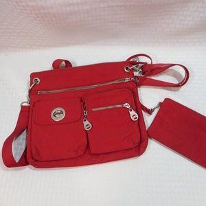 Baggallini Red Multi Pocket Red Crossbody Handbag